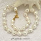 NECKLACE White KASUMI Freshwater PEARLS & Gold Vermeil 925 SILVER 19.6 inch