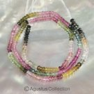Multicolor TOURMALINE 15.1 inch Strand 30 ct Faceted Rondelle Gemstone BEADS