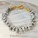 BRACELET TAHITIAN South Sea KESHI PEARLS & Gold Vermeil 925 SILVER 6 ¾  inches