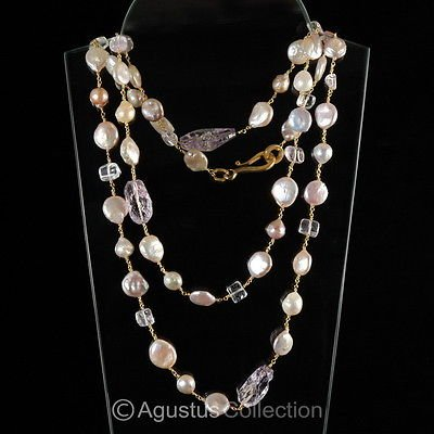 """55"""" NECKLACE Freshwater PEARLS, Amethyst & 24K GOLD Vermeil 925 Sterling Silver"""