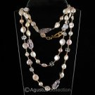 "55"" NECKLACE Freshwater PEARLS, Amethyst & 24K GOLD Vermeil 925 Sterling Silver"
