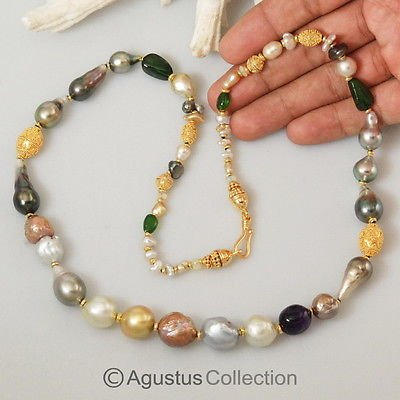 NECKLACE Multicolor South Sea PEARLS Gemstones Gold Vermeil 925 Sterling SILVER