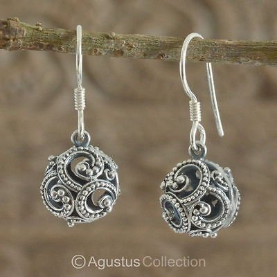 Hook EARRINGS Genuine 925 Sterling Silver 4.35 g ~ Handmade in Bali