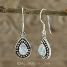 Hook EARRINGS Sterling Silver & Genuine Moonstone 3.10 g ~ Handmade
