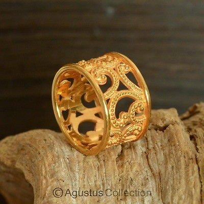 RING Genuine 24K Gold Vermeil over Sterling SILVER 5.88 g US size 7.5 ~ Handmade
