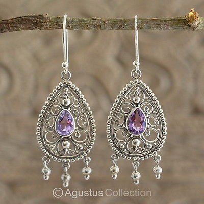 Hook EARRINGS Sterling SILVER & Genuine Amethyst 6.00 g ~ Handmade in Bali