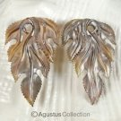 Iridescent Oyster SHELL CARVED Floral Design Earring Pair Handmade in Bali 5.64g