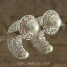 Stud EARRINGS Genuine Freshwater Pearls & Solid Sterling SILVER 19.35 g