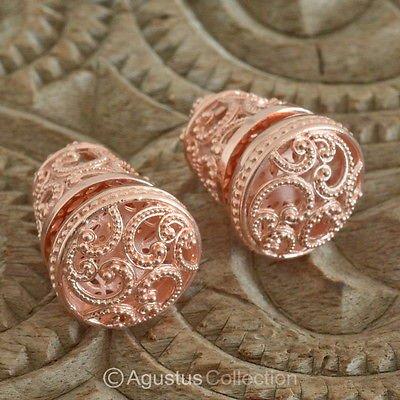 Stud EARRINGS Genuine 18K Rose Gold over Sterling SILVER 20.85 g ~ Handmade
