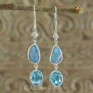 Hook EARRINGS Sterling SILVER, Triplet Opal & Swiss Blue Topaz 3.80 g ~ Handmade