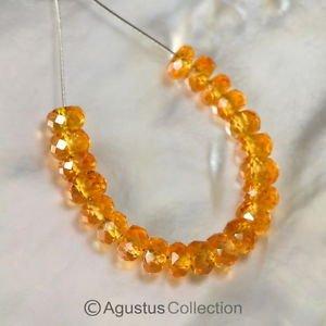 MANDARIN Orange Spessartite GARNET 1.9 inch Strand Facet Rondelle BEADS 7.25 ct