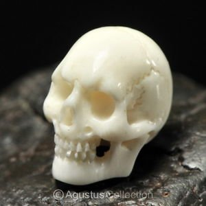 Human SKULL Carving White Bovine BONE 16 mm un-drilled hand-carved in Bali