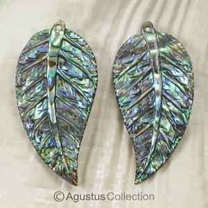 Multicolor PAUA ABALONE SHELL Iridescent Tropical Leaf Earring PAIR 3.00 g