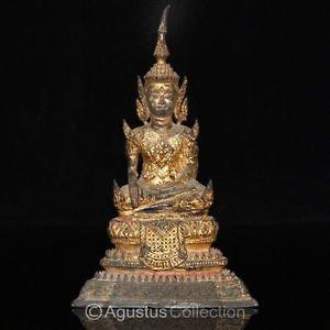 RARE Antique Thai Early Rattanakosin Bronze Statue of the BUDDHA 18-19 Century