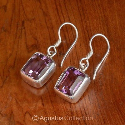 Hook EARRINGS Sterling SILVER & Genuine Amethyst 4.95 g ~ Handmade in Bali