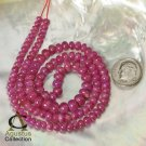 18 inch RUBY Strand Pink Red Madagascar GEMSTONE Smooth Rondelle BEADS 145 ct