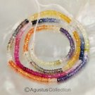 Multicolor SAPPHIRE 17.4 inch Strand Faceted Rondelle Gemstone Beads 32.5 ct
