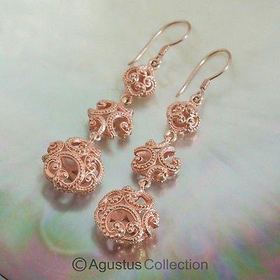 Hook EARRINGS Genuine 18K Rose Gold over Sterling SILVER 9.12 g ~ Handmade