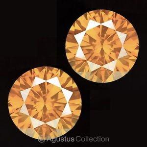 Pair 0.08 cts Round Natural Orange Diamonds 2.12 mm VS2 Clarity Brilliant Cut