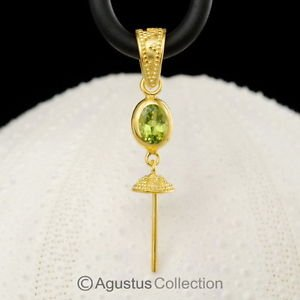 PENDANT BAIL Finding PERIDOT & 24K Gold Vermeil over Sterling Silver 1.55 g