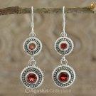 Hook EARRINGS Sterling SILVER & Genuine Red Garnet 8.15 g ~ Handmade in Bali