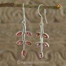 Hook EARRINGS Sterling SILVER & Genuine Red Garnet 4.50 g ~ Handmade in Bali