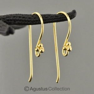 24K Gold Vermeil 925 SILVER Hang-in Hook Earring Pair 3-Micron Gold-Plated 0.8 g