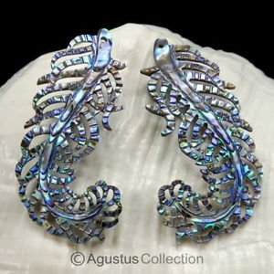 Multicolor PAUA ABALONE SHELL Iridescent Guinea Fowl Feather Earring PAIR 3.44 g