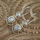 Hook EARRINGS Sterling Silver & Genuine Moonstone 5.47 g ~ Handmade in Bali