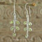 Hook EARRINGS Sterling SILVER & Genuine Green Peridot 4.90 g ~ Handmade in Bali