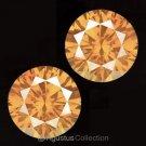 Pair 0.08 cts Round Natural Orange Diamonds 2.10 mm VS2 Clarity Brilliant Cut