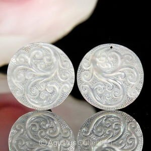 Lustrous Mother-of-Pearl SHELL CARVINGS Floral Design EARRING Pair 6.44 g