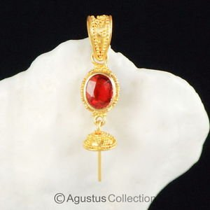 Solid 22K GOLD & Songea Ruby Bali Granulation PENDANT BAIL & Pearl Cup 2.39 g