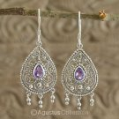 Hook EARRINGS Sterling SILVER & Genuine Amethyst 5.85 g ~ Handmade in Bali