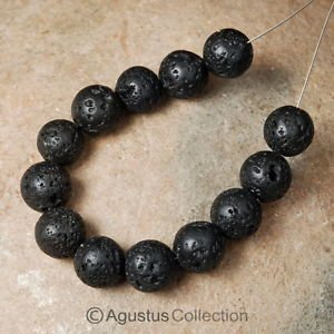 Round LAVA STONE 5 inch Strand 10mm BEADS ~ from Bali�s Sacred Volcano Mt. Agung