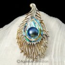 Multicolor PAUA ABALONE Shell Carving & Mabe Pearl PEACOCK Feather PENDANT 5.12g