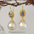 EARRINGS solid 22K GOLD with Tanzanite & Cream White SOUTH SEA PEARLS 10.41 g