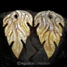 Iridescent Oyster SHELL CARVED Floral Design Earring Pair Handmade in Bali 8.99g