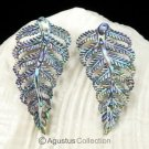 Multicolor PAUA ABALONE SHELL Iridescent Carved Fern Leaves Earring PAIR 3.12 g