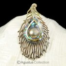 Multicolor PAUA ABALONE Shell Carving & Mabe Pearl PEACOCK Feather PENDANT 4.38g
