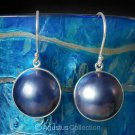 Handcrafted Designer Hook EARRINGS Blue Mabe Pearls & 925 Sterling Silver 4.5 g