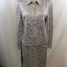 ST JOHN EVENING SILVER MIRROR BEADED SKIRT SUIT SIZE 2/ 4