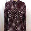 ISABEL MARANT RED/ BLACK WOOL PLAID BUTTON DOWN SHIRT SIZE S