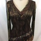 ALBERTO MAKALI GREEN KRINKLE BROWN LACE OVERLAY V-NECK TOP SIZE M
