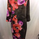 ST JOHN BROWN/ ORANGE SILK FLORAL L/S SHIFT DRESS SIZE 8