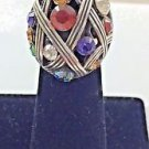 Brighton Multi Color Rhinestone Silver Tone Ring Size 6 1/4""