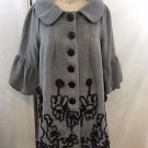 RYU GRAY CHARCOAL LACE EMBROIDERED BELL SLEEVE COAT SIZE S