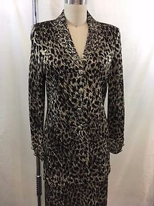 ST JOHN EVENING LEOPARD KNIT BEADED TRIM SPAG STRAP GOWN/ JACKET SET SIZE 4