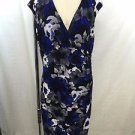 LAUREN RALPH LAUREN COBALT/ BLACK/ GRAY FLORAL V-NECK EMPIRE DRESS SIZE 12