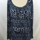 MICHAEL MICHAEL KORS BLUE LEOPARD PRINT SCOOP NECK L/S TOP SIZE M